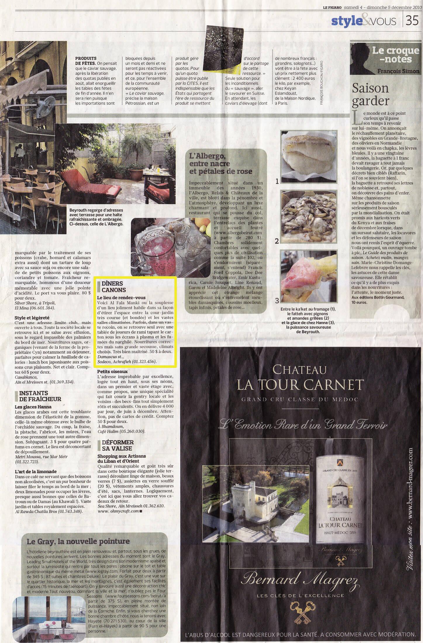 Le Figaro December 2010